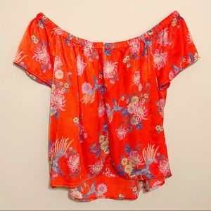 Price FIRM - Red-Orange Floral Blouse